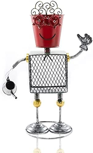 At the Direct stock discount price JYHZ Decoration Metal Robot Model Home Garde Pot Statue Flower
