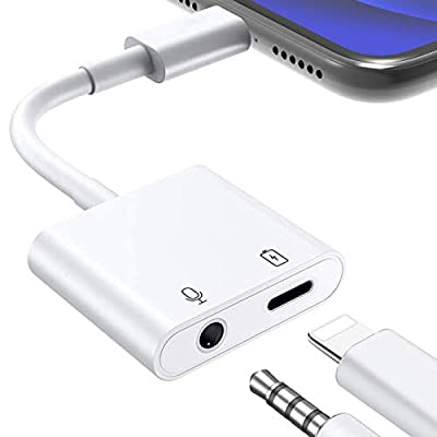 Headphone Adapter for iPhone, MOYAGOA 2 in 1 Headphone Adapter, 3.5mm Headphone Audio Splitter, Earphone Jack Adapter AUX Connector Charger Cable Replacement for Phone 8/8 Plus/7/7 Plus/X/XR from Moyagoa