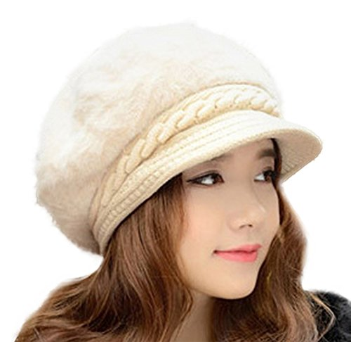 Spikerking Womens Thick Knit Cap Soft Rabbit Wool Winter Hat