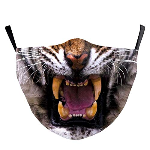 (H) おもしろマスク 面白い 変顔マスク 洗える 布 大人用 Mサイズ タイガー 虎 干支 寅年 変装 ハロウィン 仮装 被り物 コスプレ 衣装 パーティーグッズ おもしろ雑貨 人気
