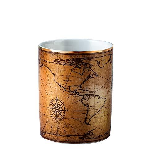 YOSCO 陶器製 ペン立て ペンスタンド メイクブラシケース オフィス 卓上収納 丸形 シンプル おしゃれ メイクブラシ収納 (地図)