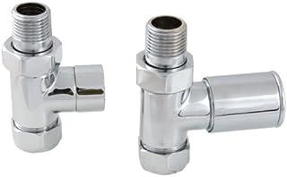 Ascot Par Recto válvulas de radiador. Construcción de latón Cromado.