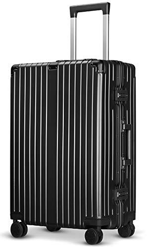 [クリアランスセール]Langxj hj スーツケース アルミフレーム 耐衝撃 キャリーケース 機内持込 キャリーケース 軽量 キャリーバッグ 人気 大型 TSAロック付き 静音 旅行出張6021 (S, ブラック)