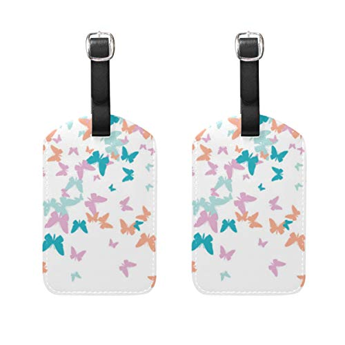 VORMOR Gepäckanhänger (Sortiert, 2 PK),Festlicher Schmetterlings-Konfetti-Hintergrund-Quadrat-Vektor, Gepäckanhänger, Kofferanhänger für Rucksäcke
