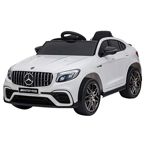 Aosom 12V Ride On Toy Car for Kids with Remote Control, Mercedes Benz AMG GLC63S Coupe, 2 Speed, with Music, Electric Light, White