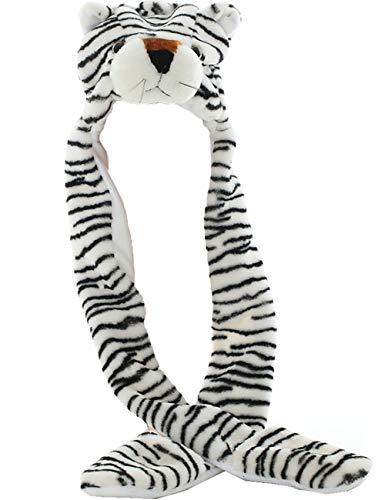 JOYHY Unisexo Niños Invierno Felpa Disfraz Sombrero con Patas Gorras de Animales Tigre Blanco