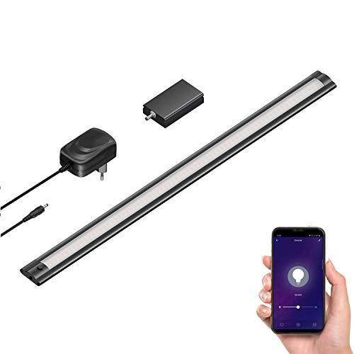 ledscom.de Smart LED luce sottopensile SIRIS nero opaco con alimentatore e controller WLAN, piatto, Smart Home, abilitato Alexa (Echo) 50cm, 420lm, bianco caldo, dimmerabile