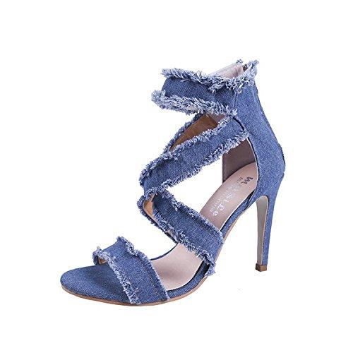 Donyyyy mujer de sandalias, agujeros, huecos, jeans, zapatos de tacón alto, delgado y bolsas con cremallera y zapatos de mujer.