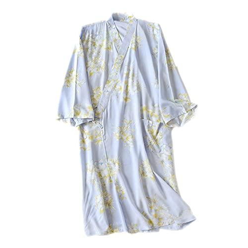Albornoz kimono para mujer, pijamas japonesas de seda de algodón de verano para mujer, kimono, suave, kimono, delgado, cómodo dorso