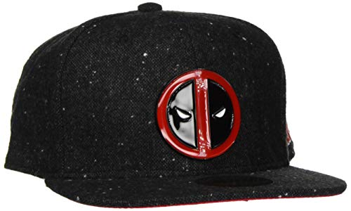 Bioworld - Difuzed Unisex Casquette Marvel Deadpool Logo Metal Baseball Cap, Grau (Gris Et Rouge 000), One Size