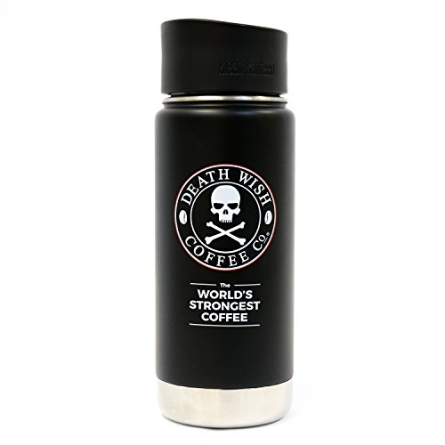 Death Wish Coffee Wide Mouth Travel Mug, Vacuum Insulated and Stainless Steel with Leak-Proof Cafe Top, made by Klean Kanteen - 16 Ounces