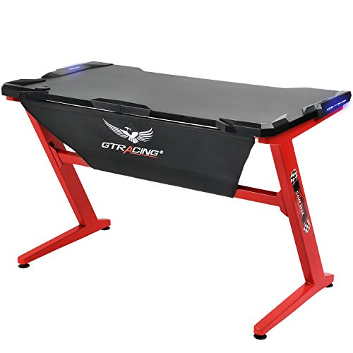 GTRACING Gaming Desk Racing Computer Table with LED Light PC Stand Ergonomic Durable Z-Shaped E-Sports Desk Home Office Workstation GTZ01 Red