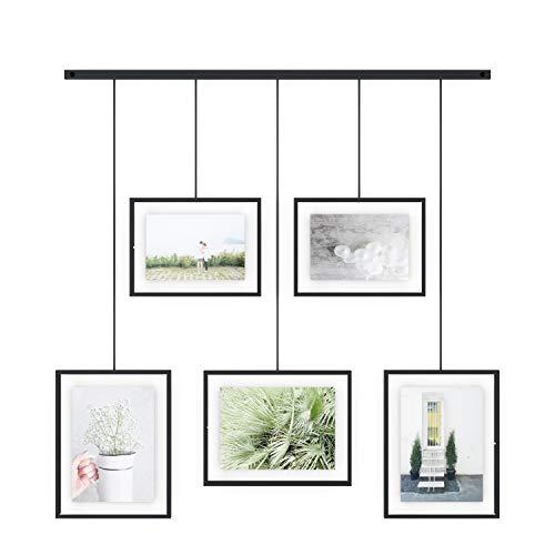 Umbra Exhibit Foto Collage Flexibles Bilderrahmen-Set zur Horizontalen und Diagonalen Anbringung, für 5 Photos, Kunstdrucke, Bilder, 10 x 15, 13 x 18 und 20 x 25 cm, Schwarz/Glas