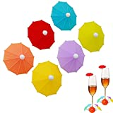 Süßer Teebeutelhalter, 12 Stück Glas Kennzeichnung, Silikon Glasmarker, Regenschirm Weinglas Marker, Kann für die Dekoration Von Party Stehtischen Verwendet Werden