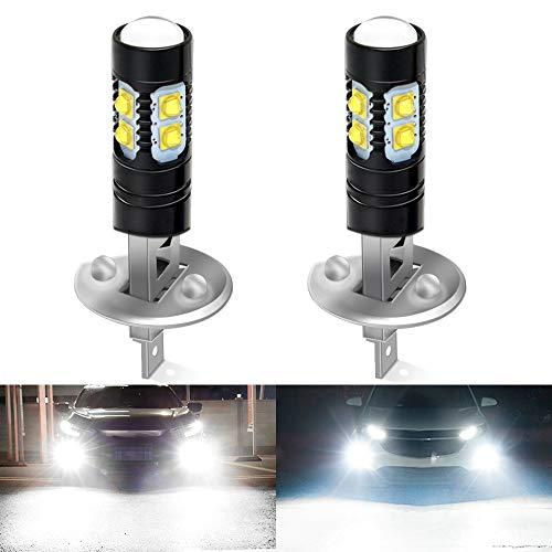 replacement bulb for fog lights CIIHON H1 LED Fog Light Bulbs 6000k White, 360°Beam Super Bright Waterproof 50w 1600LM DRL Fog Light Bulbs 3535SMD Replacement for Auto Cars, Not Headlight