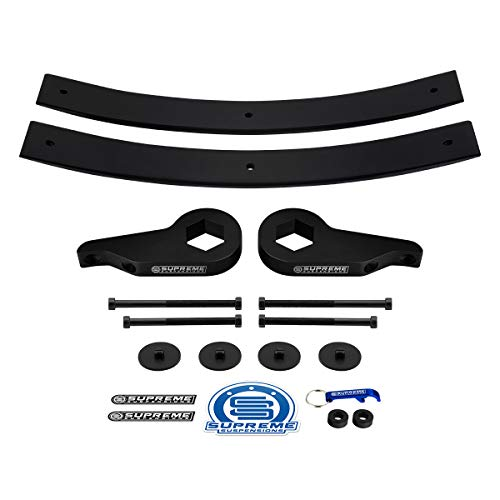 "Supreme Suspensions - Full Lift Kit for Chevrolet S-10 / Blazer S-10 and GMC Sonoma S-15 / Jimmy S-15 Adjustable 1"" to 3"" Front Lift Torsion Keys + 2"" Rear Lift Short Add-A-Leaf Springs 4WD"