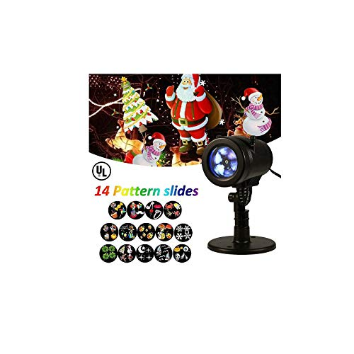 Uamaze Halloween & Christmas Lights Projector with 14 Slides Patterns, Outdoor Indoor Xmas Decorations Waterproof LED Landscape Spotlight for Xmas Theme Party Store Window & Gard