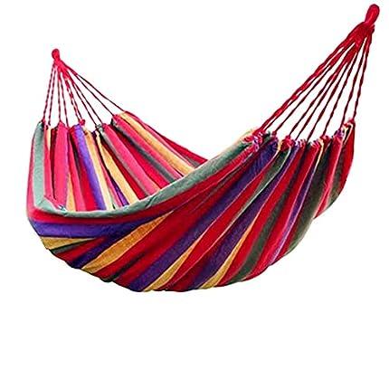 ZusFut Hamaca Colgante| Extra Larga Amplia Hamaca 275x150cm / Transpirable Algodón / 200KG Capacidad de Carga/2 Cuerdas de Nylon/Multicolor| Hamacas Jardín Hamacas Colgantes (275)