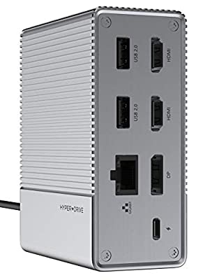HYPER Drive USB C Docking Station, Laptop 12in1 USB-C GEN2 Dock for Mac Win, Triple Monitor 4K60Hz HDMI DP USB 3.1 PD100W
