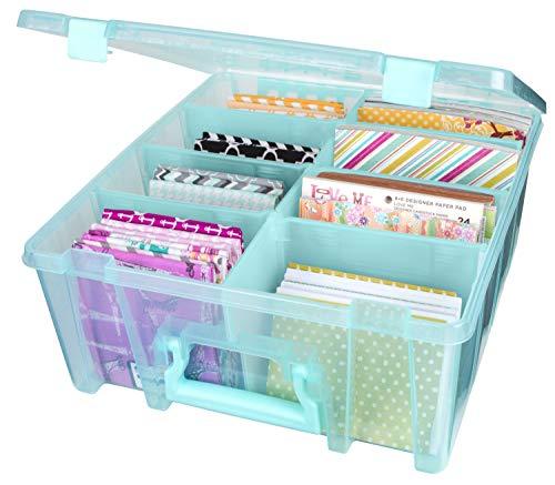 ArtBin 6990AA Super Satchel Double Deep, Portable Art & Craft Organizer with Handle, [1] Plastic Storage Case, Aqua Mist