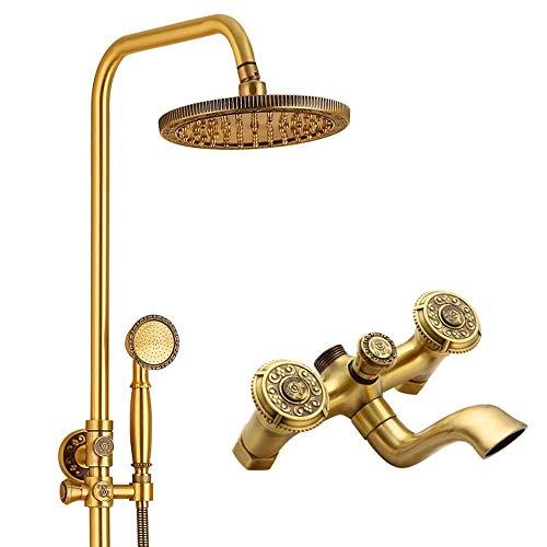 GENFALIN Todo-cobre ducha conjunto de boquilla de mano se puede girar con ascensor Ducha talla exquisita hermoso proceso práctico