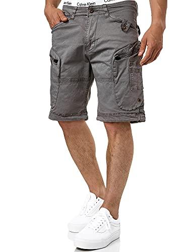 Indicode Herren Bosa Cargo Shorts mit 7 Taschen aus 98% Baumwolle | Kurze Hose Sommer Stretch Herrenshorts Freizeitshorts Men Short Pants Cargohose Bermuda Sommerhose kurz für Männer Pewter XXL