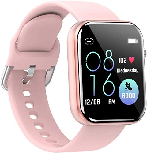 jpantech Smartwatch, Fitness Armband Tracker Voller Touch Screen Uhr IP68 Wasserdicht Armbanduhr Smart Watch mit Schrittzähler Pulsmesser Stoppuhr für Damen Kinder Sportuhr für iOS Android (Rosa)