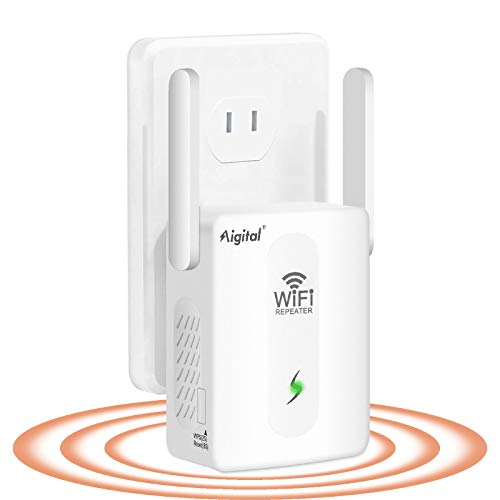 Aigital WiFi Booster, WiFi Range Extender with Ethernet Port, 2.4GHz Single Band Portable Dual-Antennas Wireless Signal Booster up to 300 Mbps, Extends WiFi Coverage to Smart Home Devices