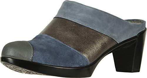 NAOT Footwear Women's Fortuna Blue Nubuck/Gray Shimmer Lthr/Midnight Blue Suede/Shadow Gray Nubuck Clog Heel 8.5 M US