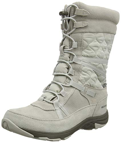 Merrell Damen Approach Tall Leather Waterproof Hohe Stiefel, Elfenbein (Silver Lining), 39 EU