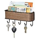 mDesign Colgador de llaves con estante para uso variado - organizador de llaves en metal resistente mate con detalles en...