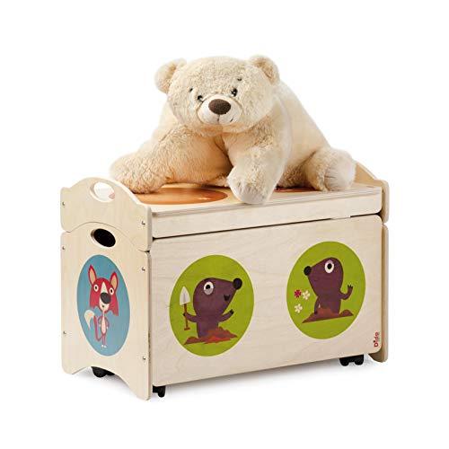 """Dida - Coffre à Jouets pour Chambre d'enfant - """"Pancotti""""conteneur empilable avec 4 Roues et Couvercle pour la Chambre des Enfants - Decoration: Foxs, Moles et mouffettes"""