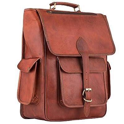 Vintage Leather Backpack 17 Inch Laptop Bag Rucksack Office College School Shoulder Bag Travel Handbag