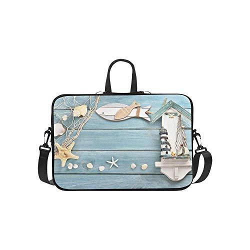15.6″Durable Hombro Mensajero Bolsa maletín PC Red de Pesca de Conchas de Madera Azul Verano Moda Impermeable Ordenador Portátil/portátil/Tablets