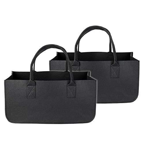 Schramm® 1 oder 2 Stück Filztasche Tasche aus Filz schwarz 50x25x25 cm Kaminholztasche Holzkorb Einkaufstasche Filzkorb Zeitungskorb Shopper Taschen Filztaschen, Größe:2 Stück