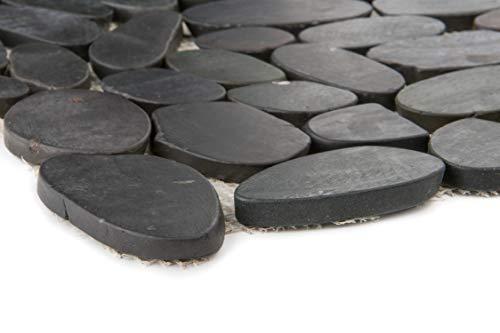 Natursteinmosaik Flusskiesel schwarz gesägt matt Wand Boden Dusche WC Küche   10 Matten   ES-47673_f