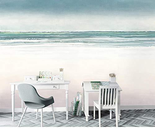 Noordse minimalistische zee behang met de hand beschilderd abstract IKEA behang slaapkamer woonkamer muurschildering 250 * 175cm(98.4 x 68.9 inch)