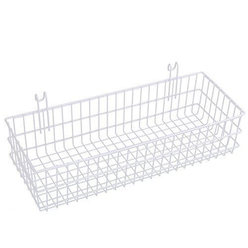Kaforise Hanging Basket for Wire Wall Grid Panel, Multi-function Wall Storage and Display Basket, Flower Pots Shelf Balcony Plant Storage Holder, Extra Large Size, White Painted