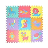 Estera de rastreo 10 unids/Set 30 * 30 cm EVA Play Play Mat Letter Animal Alfombra Alfombra Interior Soft Actividad Puzzle Crawling Mats para niños Juego (Color : 10Pcs Animal)