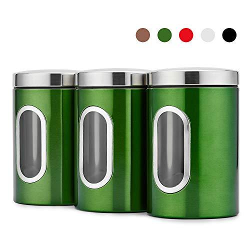Blusea Set da 3 Barattoli Rotondi in Acciaio con Finestra Frontale, 3pcs / Set Contenitore per Alimenti con Finestra Trasparente (Verde)