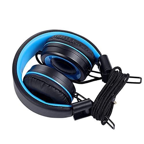 MagiDeal Auriculares con Cable en El Oído, Diadema Ajustable, Control de Volumen Incorporado Estéreo de 3,5 Mm Auriculares de Juego para Viajes Laptop Tablet N - Azul Negro