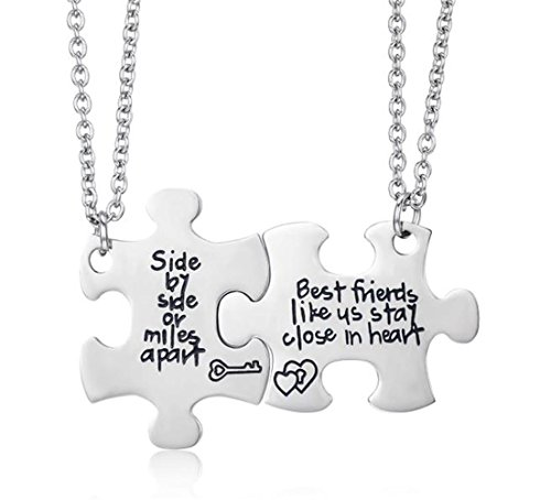 Udobuy2 Pcs Best Friends Side by Side Or Miles Apart Best Friend Necklaces Set Heart for Teen Girls BFF Friendship Necklaces (Pizza Friend Necklace)