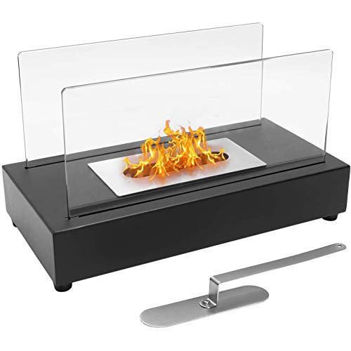 CRZJ Tabletop Fireplace Bio-Ethanol Fire Pit, Indoor Outdoor Portable Fire Bowl Pot Ventless Fireplace, Rectangle, Desktop Patio Heater