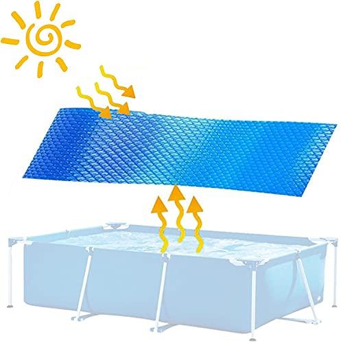 Cubierta solar rectangular azul | Manta de retención de calor para piscinas rectangulares enterradas y sobre el suelo | Utilice el sol para calentar la piscina | Lado de la burbuja hacia abajo,4' x 8'