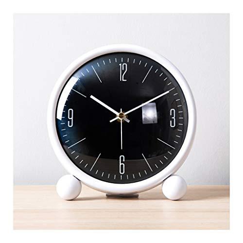 Elegante Reloj de Mesa Tabla pequeña Reloj Metal Pintura Sala de estar Decoración Mesa Reloj relojes y relojes Adornos Desktop Desktop Small Table Reloj Blanco y negro Reloj de Escritorio