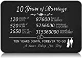 Happy 10th Wedding Gift for Husband - 10 Years of Marriage Keepsake Gifts for Couple - Steel Wallet Inserts Card Decoration Gift - Ten Years Down,Forever to Go - A Never Ending Love Story
