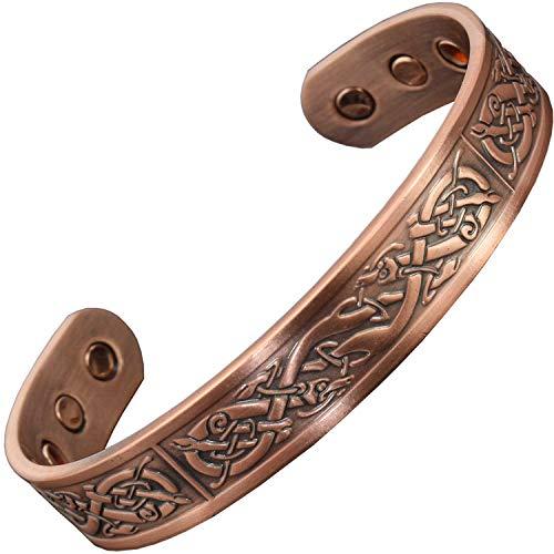 Holistic Magnets® Wikinger Kupfer Armband Alle Größen Herren Magnetarmband Originelle Geschenke für Männer Handgelenk Gelenkheilung Magnetarmbänder +Geschenkbox-VC (L: Handgelenk 19-21,5cm)