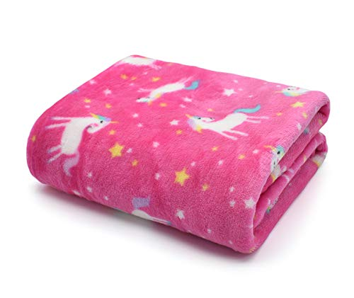 Pink Baby Blanket Fleece 75x100cm Pram/Moses - Unicorn