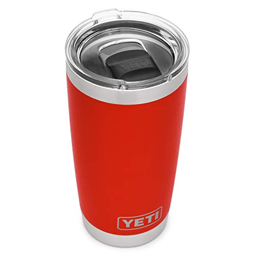 YETI Rambler 20 oz Tumbler, Stainless Steel, Vacuum Insulated with MagSlider Lid, Canyon Red