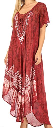 Sakkas 16601 - Ronny Lace Embroidered Cap Sleeve Tie Dye Wash Caftan Dress/Cover Up - Black/Burgundy - OS
